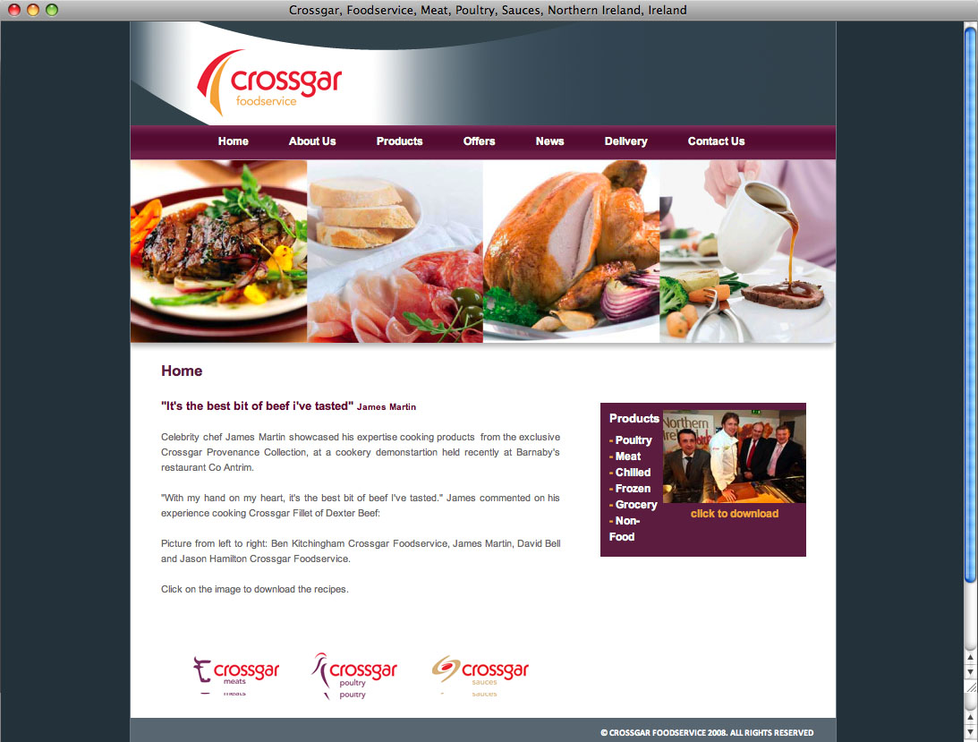 Website designers Belfast - Crossgar Foods web site home page