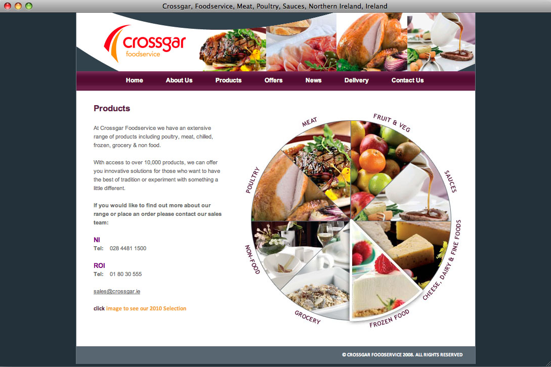 Website designers Belfast - Crossgar Foods web site products page