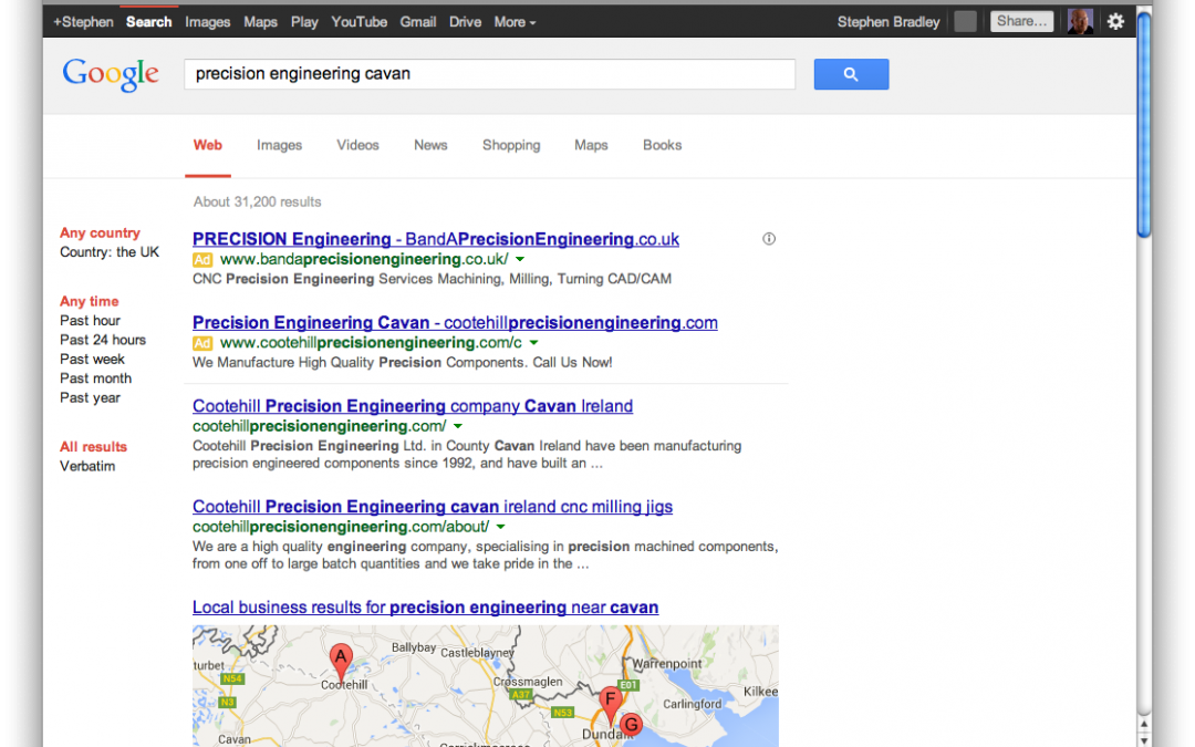 First page Google search results for mobile friendly web site