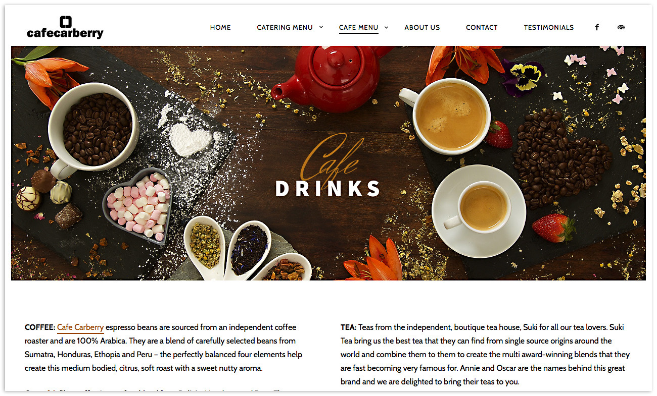 Web designers Belfast, web design for Cafe Carberry - image 4.
