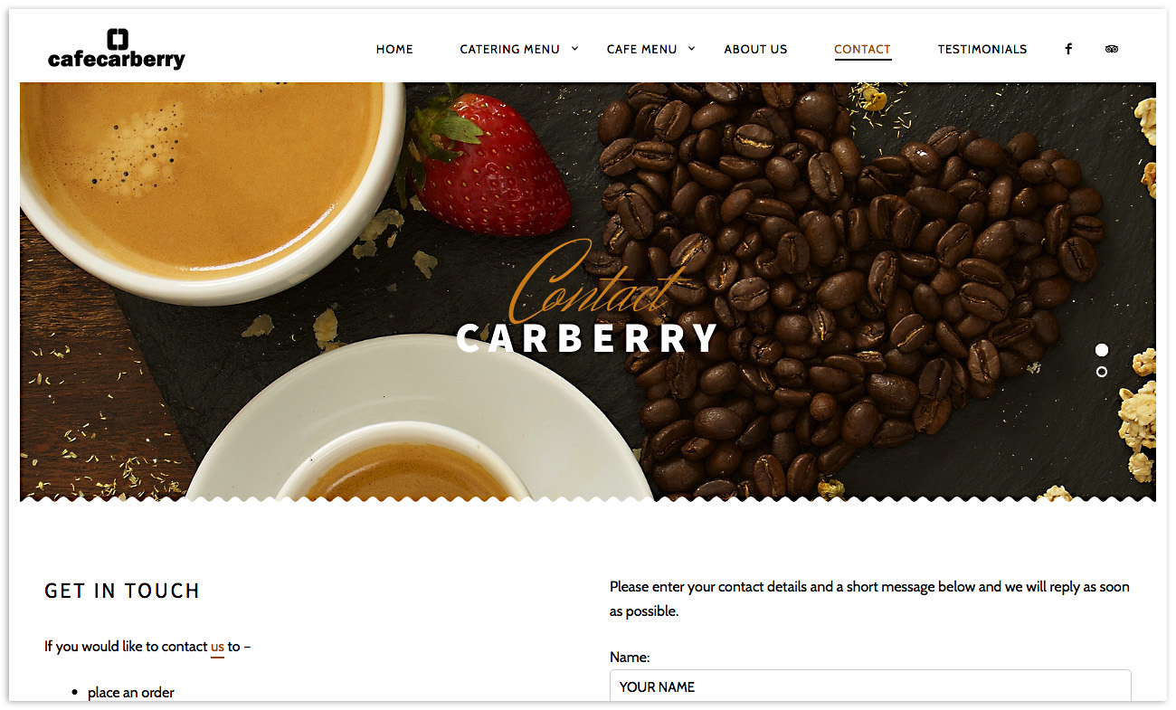 Web designers Belfast, web design for Cafe Carberry - image 5.