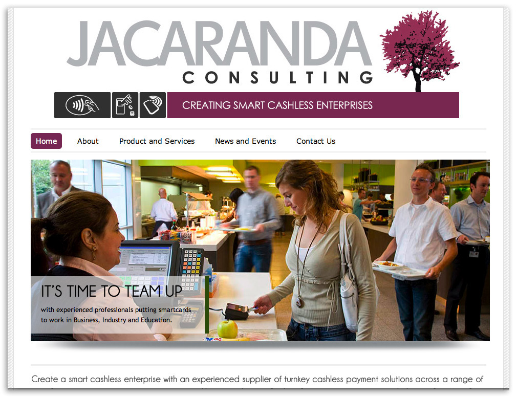 Web designers Belfast Northern Ireland portfolio - Jacaranda web site screenshot 1.