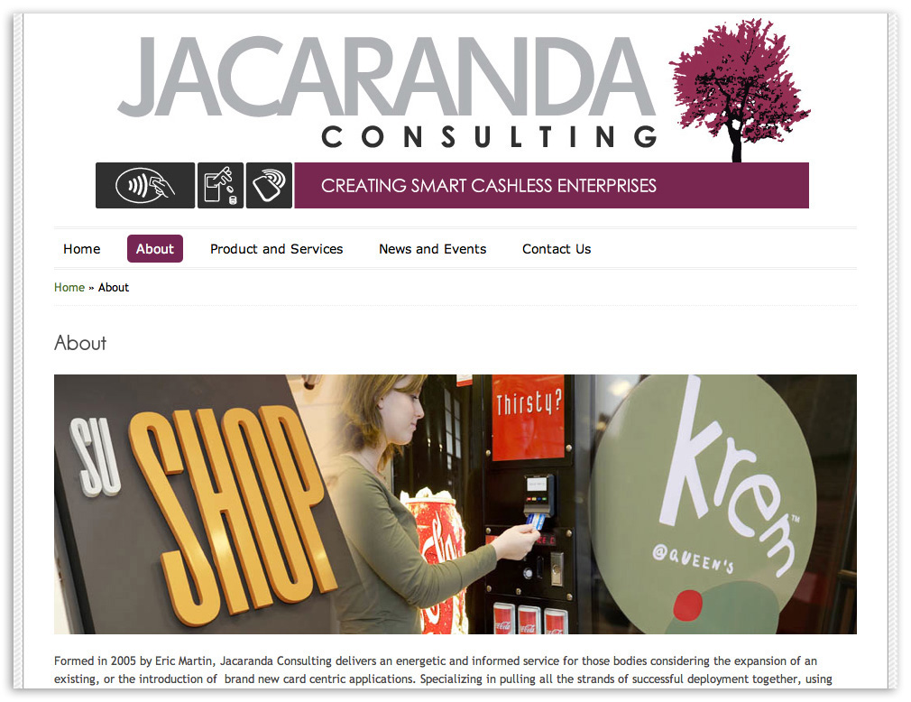 Web designers Belfast Northern Ireland portfolio - Jacaranda web site screenshot 2.